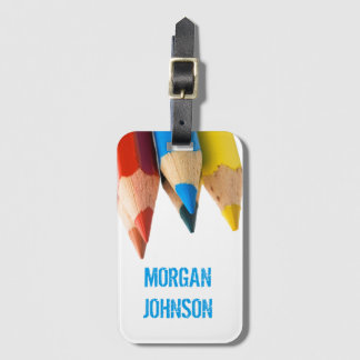 Personalized  Colourful pencils School Luggage Tag