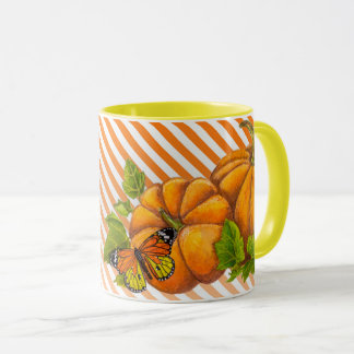 Personalized Combo Mug with Pumpkins and Stripes