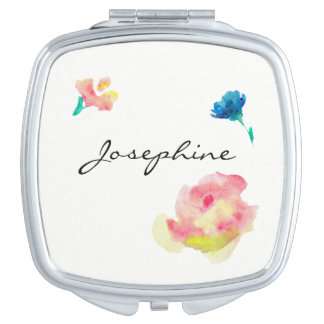 Personalized compact with name, flower paintings makeup mirror