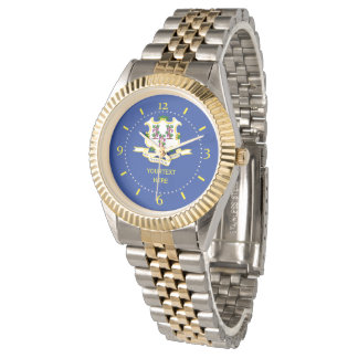 Personalized Connecticut State Flag Watch Design