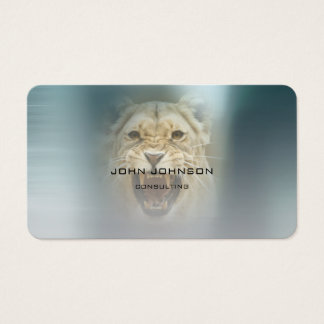 Personalized Consulting Lion Blue Metallic Steel Business Card