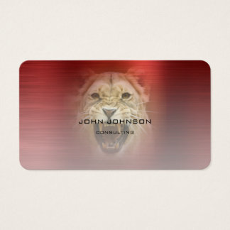 Personalized Consulting Lion Red Metallic Steel Business Card