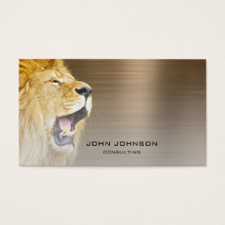 Personalized Consulting Lion Sepia Metallic Steel Business Card