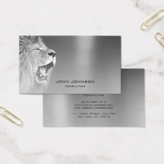 Personalized Consulting Lion Silver Metallic Steel Business Card