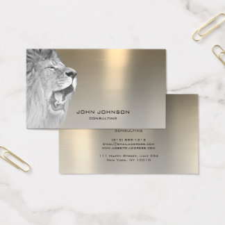 Personalized Consulting Lion Silver Sepia Steel Business Card