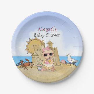 Personalized Cool Beach Baby Shower Plates ~ Girls