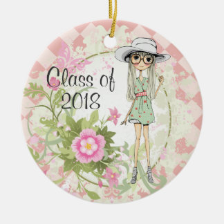 Personalized Cool Girl Flowers Graduation Ornament