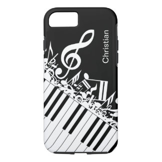 Personalized cool Musical Notes and Piano Keys iPhone 7 Case