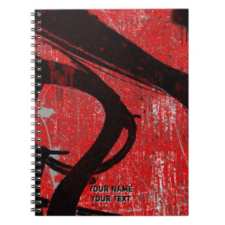 Personalized Cool Urban Red Graffiti Spiral Note Book