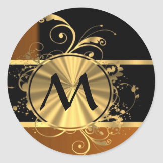 Personalized copper black and monogram round sticker