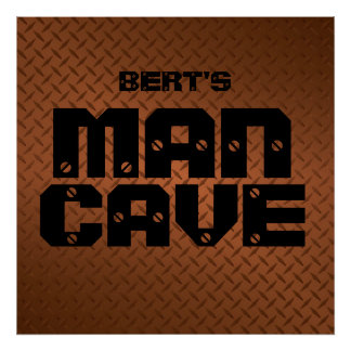 Personalized Copper Diamond Plate Man Cave Poster