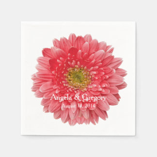 Personalized Coral Gerbera Daisy Wedding Paper Napkins