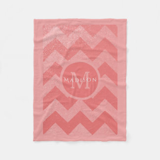 Personalized Coral Glitter Chevrons | Nursery Girl Fleece Blanket