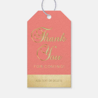 Personalized Coral Gold THANK YOU FOR COMING favor Gift Tags