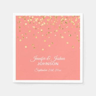 Personalized CORAL Peach Gold Confetti Wedding Paper Napkin