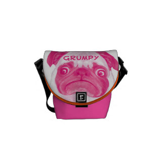 Personalized Coral PINK Grumpy Puggy Messenger Bag
