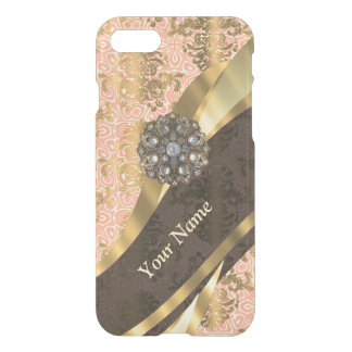 Personalized coral vintage damask pattern iPhone 8/7 case