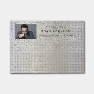 Personalized Corporate Gray Silver Binary IT Manag Post-it Notes