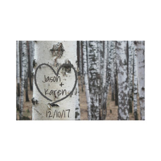 Personalized Country Rustic Carved Heart Canvas Print