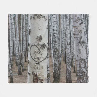 Personalized Country Rustic Carved Heart Fleece Blanket