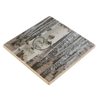 Personalized Country Rustic Carved Heart Wood Coaster