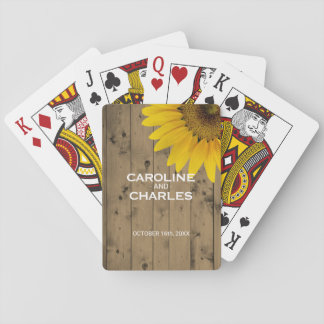 Personalized Country Wedding Favor Rustic Wood Playing Cards