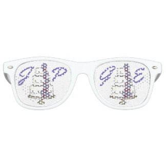 Personalized Couple Initials Wedding Cake Favors Retro Sunglasses