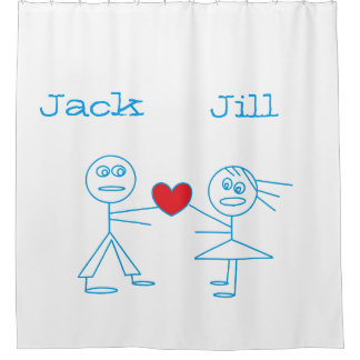 Personalized Couple Stick Figure Shower Curtain