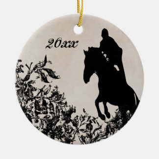 Personalized Couple's Equestrian Horse Jumping Christmas Ornament