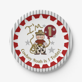 Personalized Cowboy 1st Birthday Paper Plates