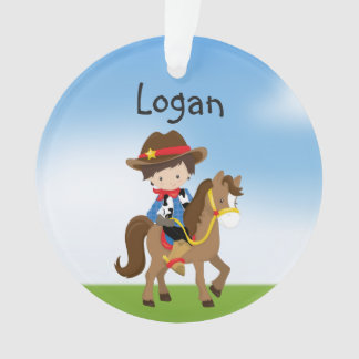 Personalized Cowboy On Horse Ornament