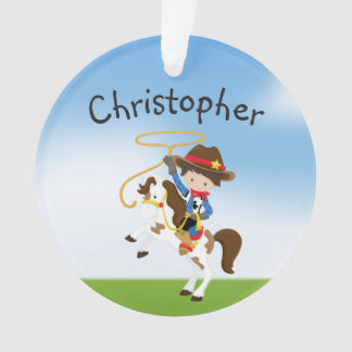 Personalized Cowboy On Horse With Lasso Ornament