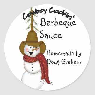 Personalized Cowboy Snowman Jar Label Round Sticker