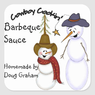 Personalized Cowboy Snowman Jar Label Square Sticker