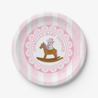Personalized Cowgirl Baby Shower Paper Cake Plates