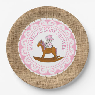 Personalized Cowgirl Baby Shower Paper Plates