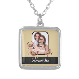 Personalized crab silver plated necklace