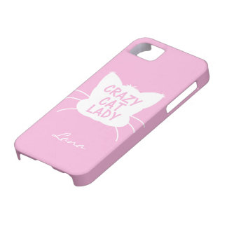 Personalized Crazy Cat Lady in Cotton Candy Pink iPhone 5 Case