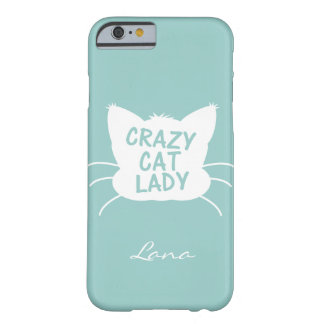 Personalized Crazy Cat Lady in Wavecrest blue Barely There iPhone 6 Case