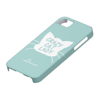Personalized Crazy Cat Lady in Wavecrest blue Case For The iPhone 5