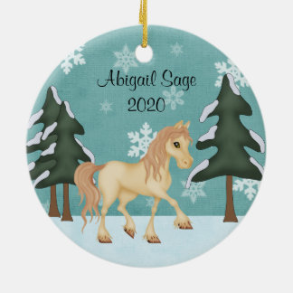 Personalized Cream Horse ~ Winter Forest Christmas Round Ceramic Decoration
