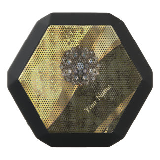 Personalized cream yellow damask pattern black bluetooth speaker