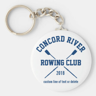 Personalized Crew Rowing Logo Oars Team Name Year Basic Round Button Key Ring