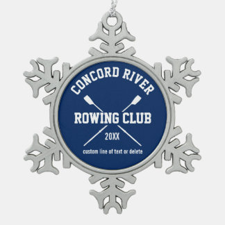Personalized Crew Rowing Logo Oars Team Name Year Pewter Snowflake Decoration