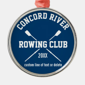 Personalized Crew Rowing Logo Oars Team Name Year Silver-Colored Round Decoration