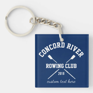 Personalized Crew Rowing Logo Oars Team Name Year Single-Sided Square Acrylic Key Ring