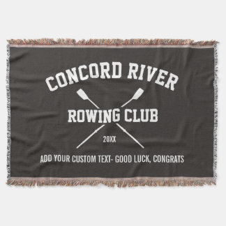 Personalized Crew Rowing Logo Oars Team Name Year Throw Blanket