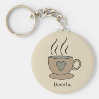 Personalized Cup of Coffee Key Ring with Heart Basic Round Button Key Ring
