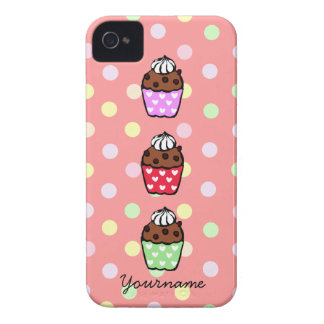 Personalized Cupcake and Polka Dots iPhone 4 Case-Mate Case