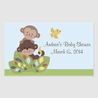 "Personalized ""Curly Tails Monkey"" Sticker/Seal Rectangular Sticker"